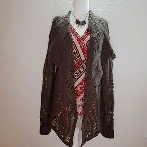 NWT BCBG Loose Knit Open Cardigan Brown L